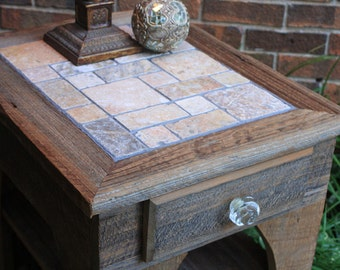 "End Table / Bedside Table, Reclaimed Wood, ""The Cobbled Path"", Unfinished - Handmade"