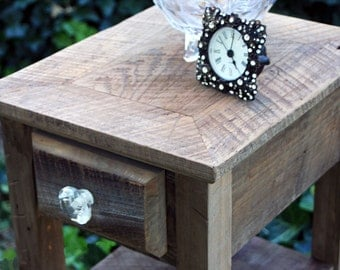 "End Table / Side Table, ""Rustic Nights"", Reclaimed Wood, Natural Finish - Handmade"