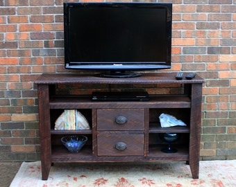 TV Stand. Media Console. Entertainment Center. Reclaimed Wood TV Stand. Old World Styling. 48 w x 15 d x 30 t. Chocolate Brown Finsh