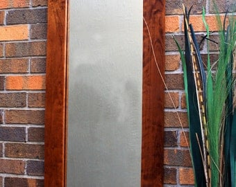 Full Length Chestnut Finished Framed Mirror, Clear Top Coat Finish, 18 x 54 - Handmade