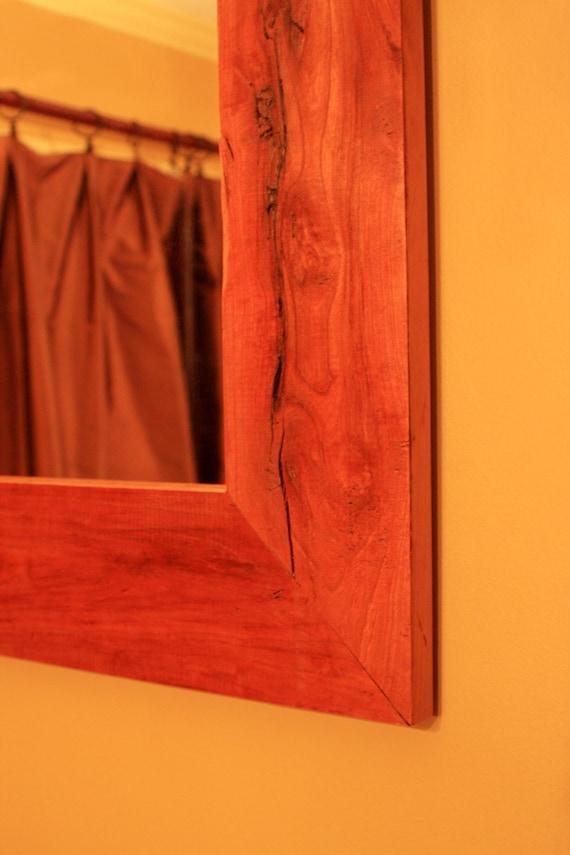 Rustic Cherry Framed Mirror, Clear Coat Finish, 30 x 36 - Handmade