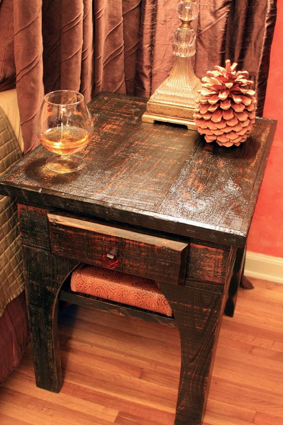 """End Table / Bedside Table, """"Brandy Nights"""", Reclaimed Wood, Black & Amber Finish - Handmade"""
