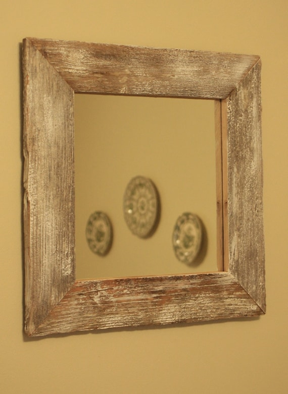 Rustic Framed Mirror, White Washed Finish, 17 x 17 - Handmade