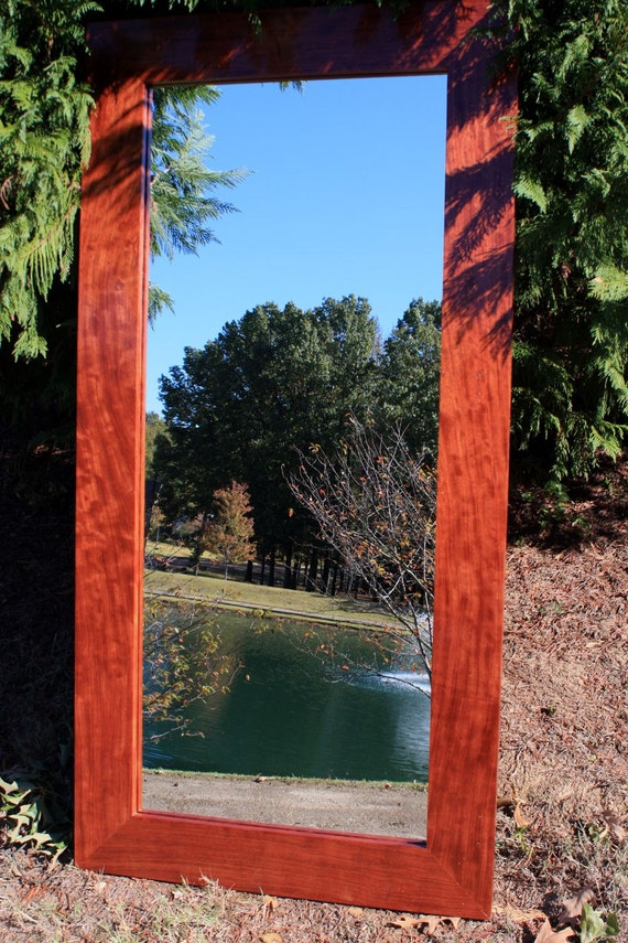 Large Cinammon Brown Wood Framed Mirror, Clear Coat Finish, 30 x 60 - Handmade