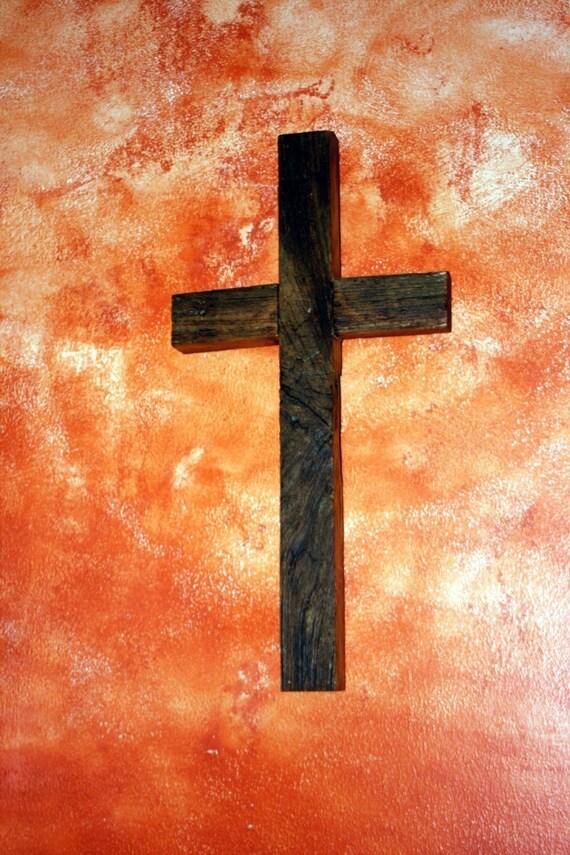Rustic Wood Cross. Wood Cross. Dark Brown Wooden Cross. 9 x 18 Cross. - Handmade