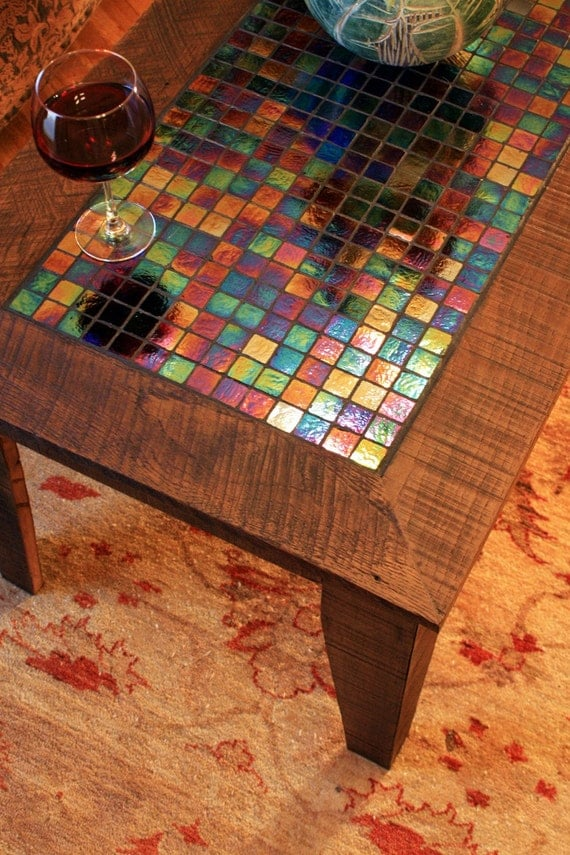 Large Coffee Table w Iridescent Glass Tile Inlay Mosaic : il570xN217351327 from www.etsy.com size 570 x 854 jpeg 172kB