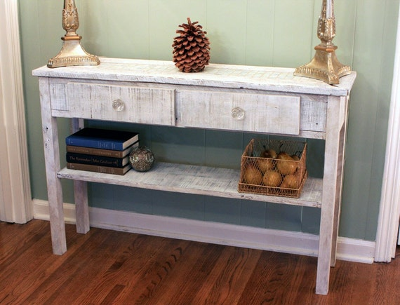 Hallway Table with Mother of Pearl Tile Inlay, Rustic Contemporary, Reclaimed Wood, White Wash Finish - Handmade