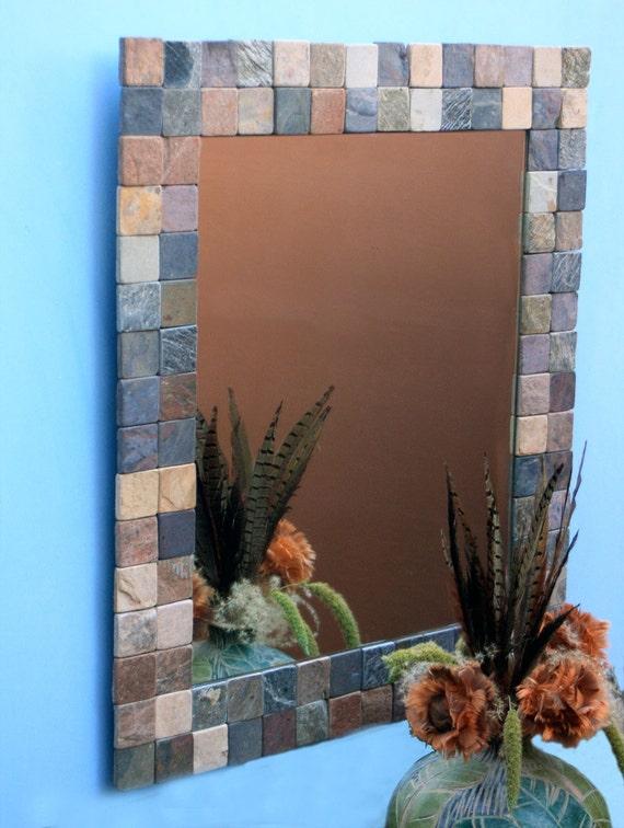 Tile Framed Bathroom Mirror: Large Slate Mat Framed Mirror 27 X 31 Handmade