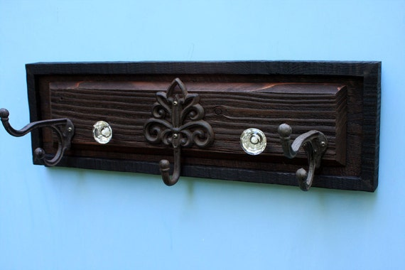 Coat Rack, Rustic Contemporary, Reclaimed Wood, Brown & Black Finish - Handmade
