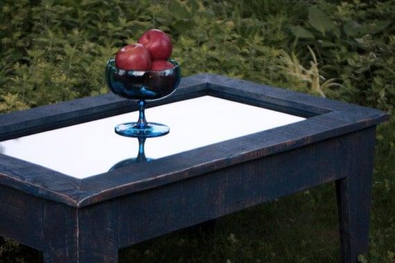 Mirror Top Coffee Table With Storage Denim By Natureinspiredcrafts