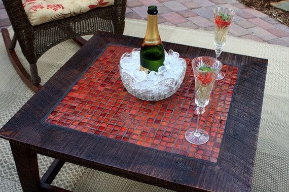 "Glass Mosaic Coffee Table ""Fire & Ice"", Rustic Contemporary, Dark Brown Satin Finish  - Handmade"