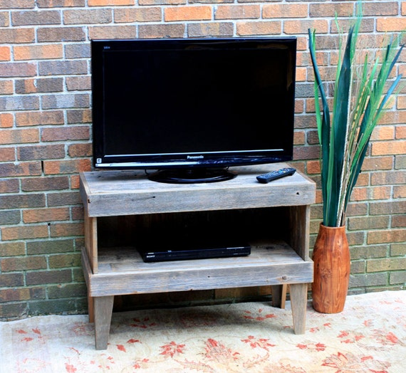 Retro Media Center / TV Stand, Unfinished Gray Wood, Rustic Contemporary, Reclaimed Wood - Handmade