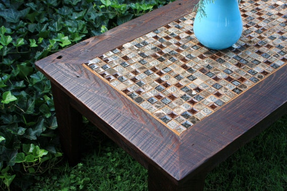 Coffee Table Glass Stone Tile Mosaic Reclaimed Wood