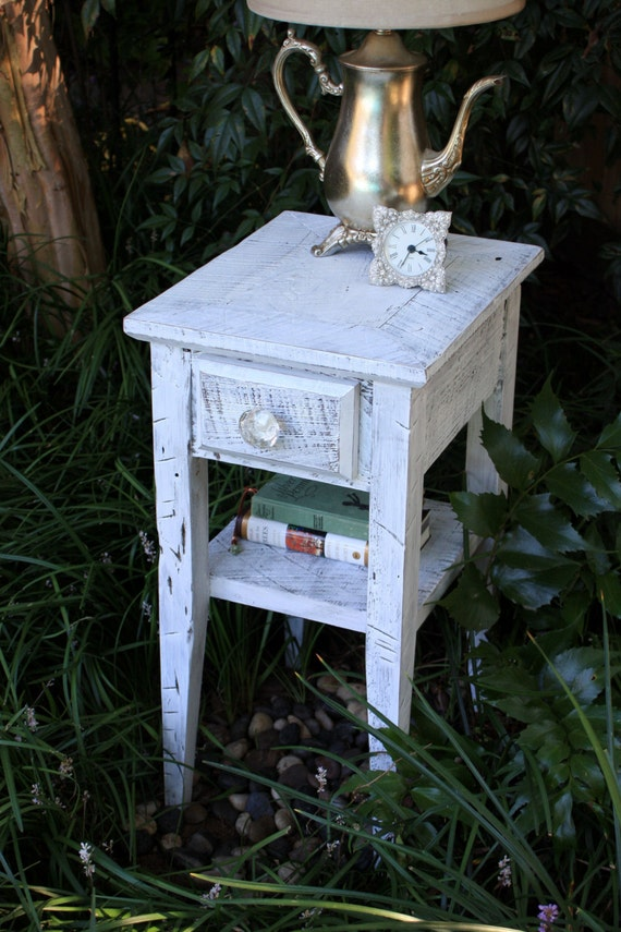 "Side Table / Bedside Table, ""White Nights"", Reclaimed Wood, Distressed White Finish - Handmade"