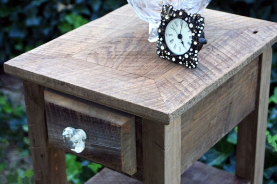 """End Table / Side Table, """"Rustic Nights"""", Reclaimed Wood, Natural Finish - Handmade"""