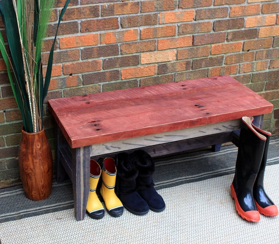 Rustic Bench, Distressed Red - Three Tone Finish, Rustic Contemporary, - Handmade