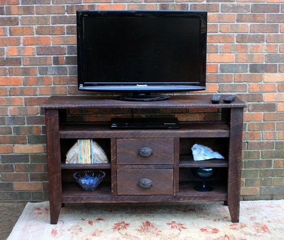 Rustic TV Stand / Media Center, Reclaimed Wood, Old World Style, Chocolate Brown Finsh, Rustic Contemporary,  - Handmade