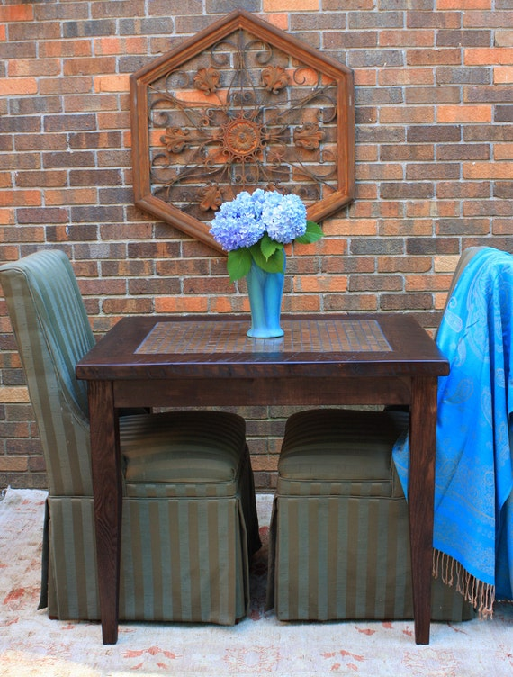 """Small Dining Table. Small Kitchen Table. Copper Table. Games Table.  Breakfast Table. """"Copper"""" Mosaic.  30w x 36l x 30t. Dark Brown Finish."""