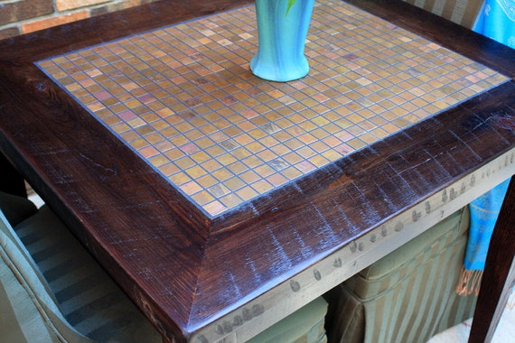 Small Dining Table, Copper Mosaic Tile, Rustic Contemporary, Reclaimed Wood, Dark Brown Finish - Handmade