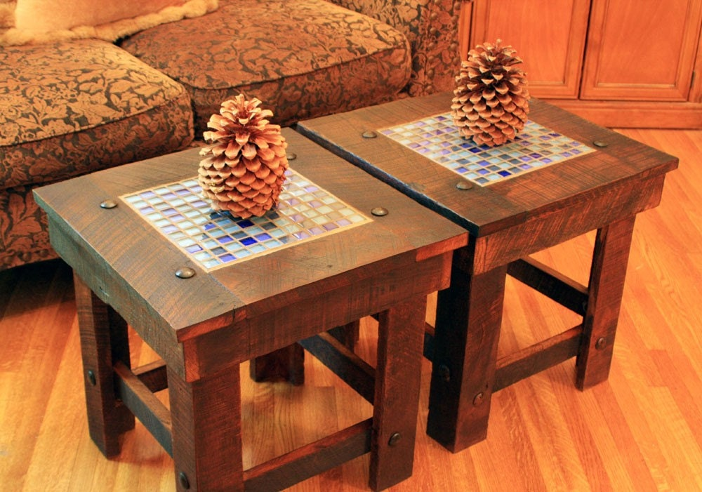 End Table Bunching Table With Glass Mosaic Tile Inlay