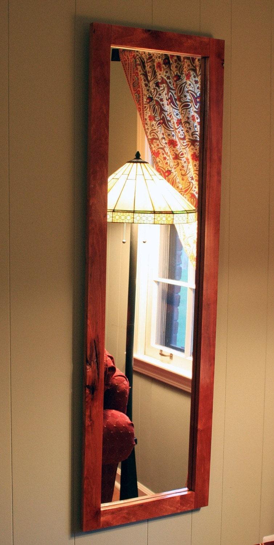 full length rustic cherry framed mirror clear coat finish 18. Black Bedroom Furniture Sets. Home Design Ideas