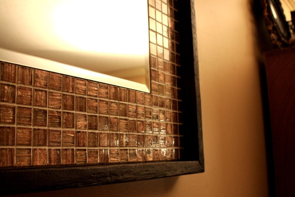 Iridescent Metallic Copper Glass Tile Framed Mirror Java