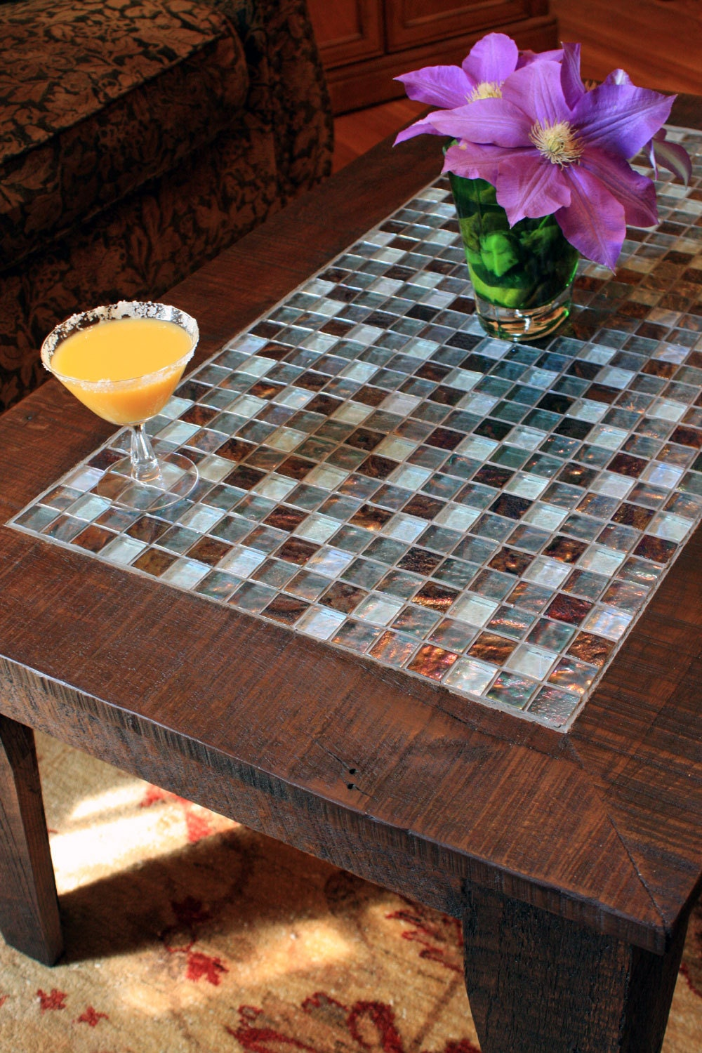 Mosaic Coffee Table. Reclaimed Wood Coffee Table. Mosaic Tile