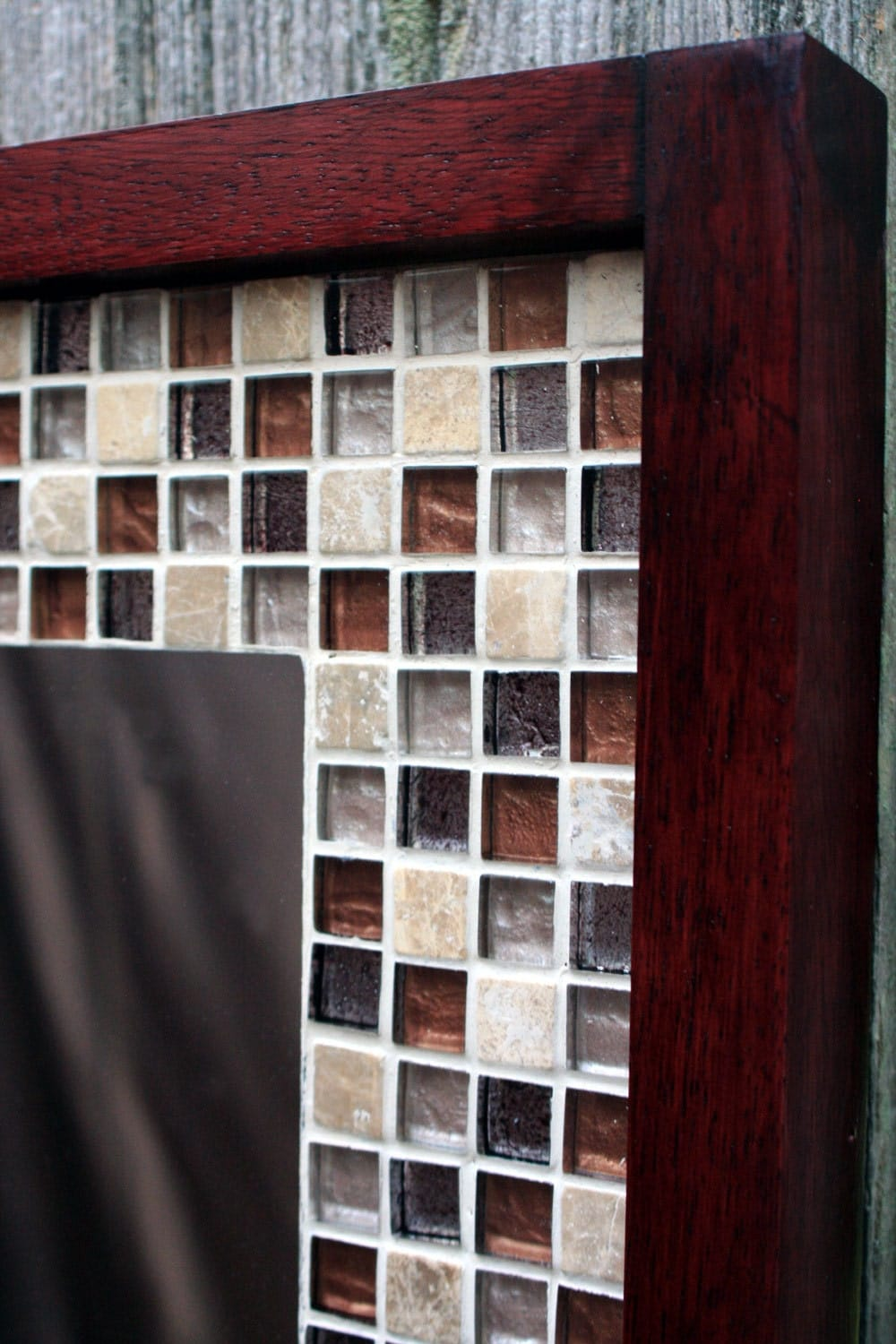 glass mosaic tile framed mirror tile framed mirror brown. Black Bedroom Furniture Sets. Home Design Ideas