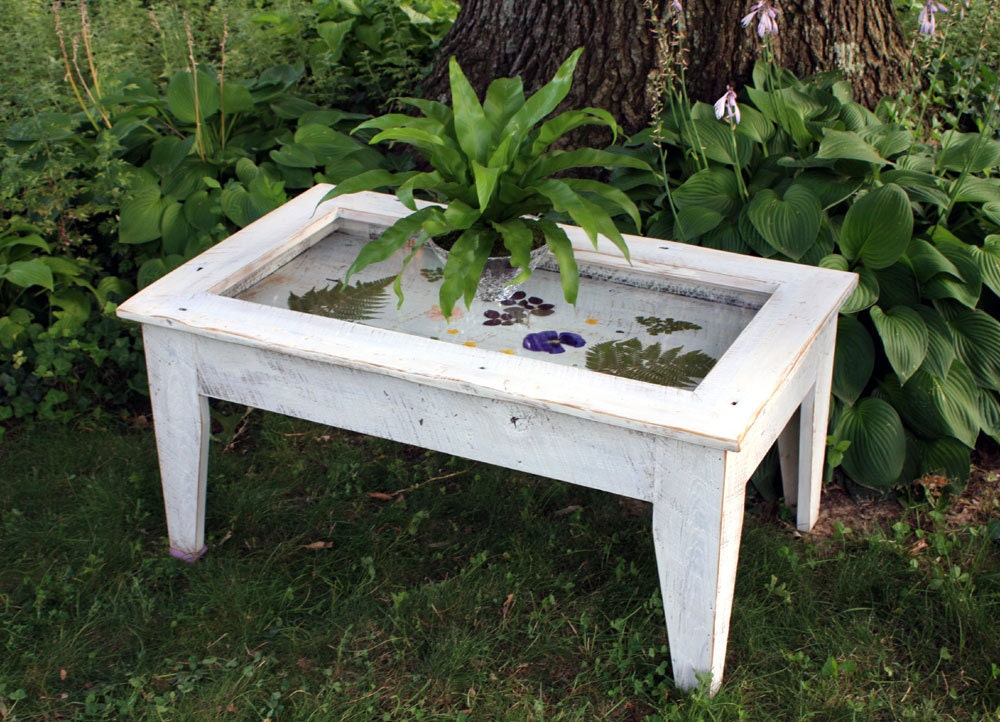 Display coffee table with glass top reclaimed wood rustic
