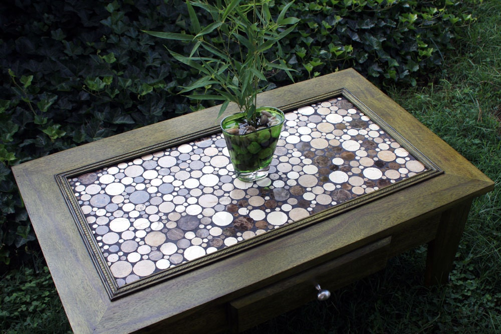 Coffee Table Circular Marble Tile Mosaic By