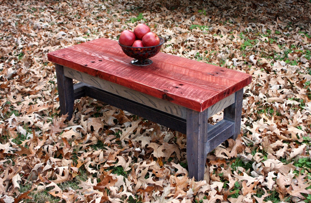 Coffee Table Reclaimed Wood Rustic Contemporary Three Tone
