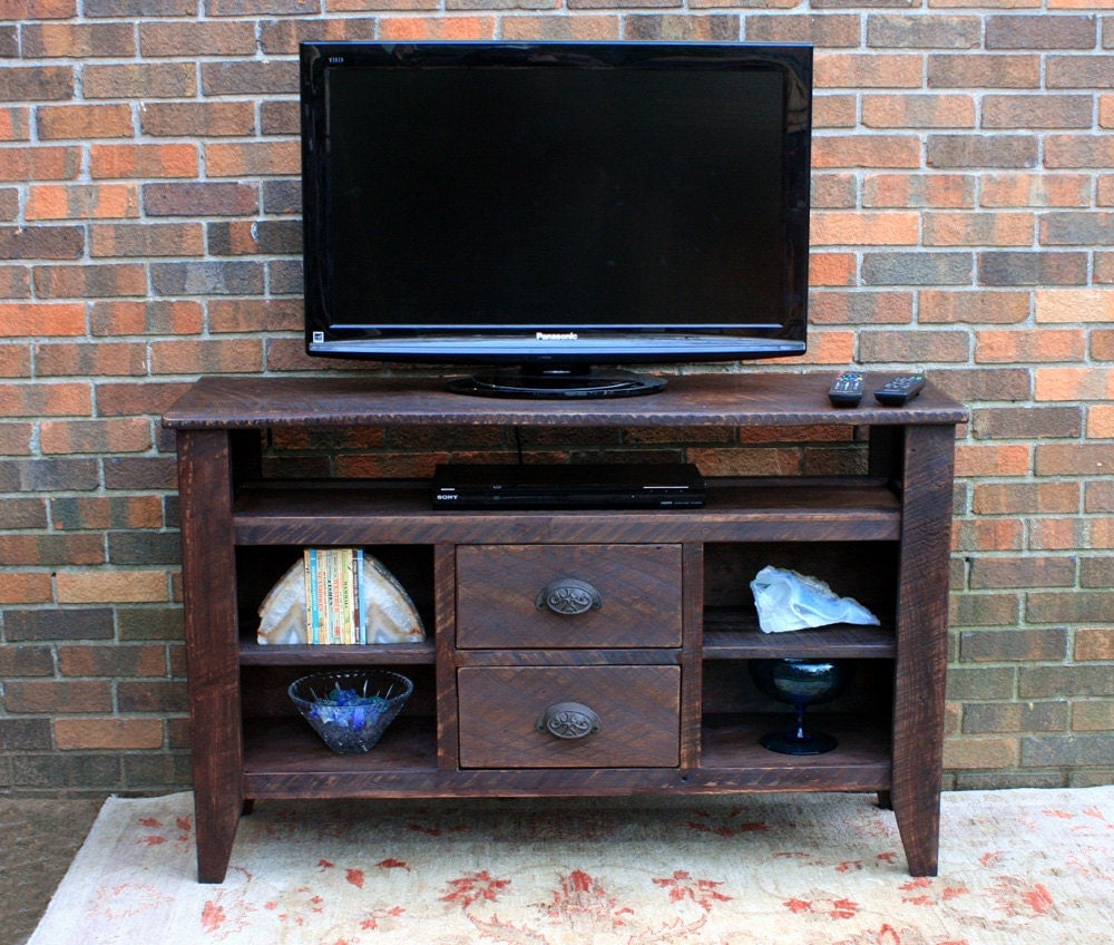 Tv stand media console entertainment center reclaimed wood