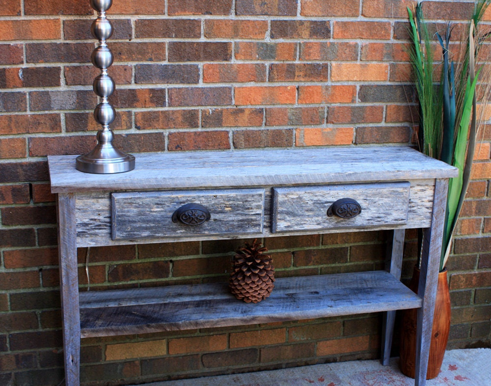 Gray Reclaimed Wood Sofa Entry Table By Natureinspiredcrafts