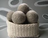 XL Large Dirty Girl Wool Dryer Balls set of 6 - grey