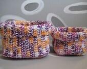 NEW -Square Crochet Baskets - Set of 2 - extra large and medium - Batik