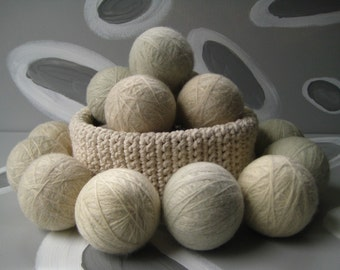XL Large Dirty Girl Wool Dryer Balls set of 12 - cream color