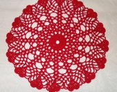 Hand crocheted Heart Edged Doily 12 inches diameter in Red valentines day wedding love anniversary