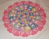 Hand crocheted Valentine Heart Edged Doily 10 inches diameter in Pink and multi