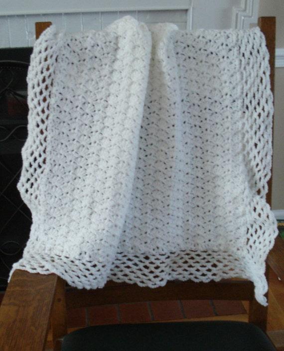 Handmade crocheted White Baby blanket afghan throw for Baptism or Christening