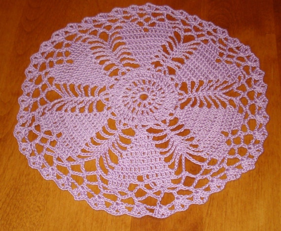 Hand crocheted Valentine Heart  Doily 9 inches diameter in lavender purple for Valentine's Day