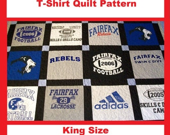 Tshirt Quilt Pattern PDF - E-Book - How to Make a T-Shirt Quilt - King Size