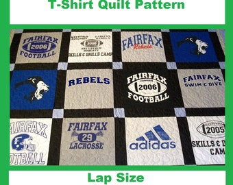 Tshirt Quilt Pattern PDF - E-Book - How to Make a T-Shirt Quilt - Lap Size