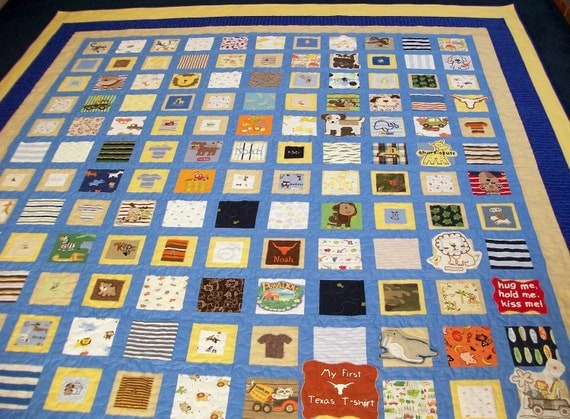"Reserved for Amber Saini - Quilt Made from Baby Clothes Full Size 82"" x 87"" (40 to 50 Clothing Items) - DEPOSIT"