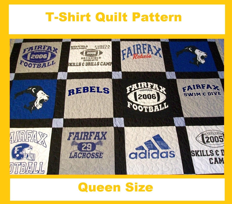 T Shirt Quilt Pattern Queen : Tshirt Quilt Pattern PDF E-Book How to Make a T-Shirt