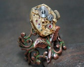 Steampunk Jewelry - Ring - Steampunk Golden Flower - Vintage Watch Ring