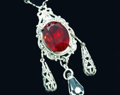 Gothic Jewelry - Necklace - Vampire Queen's Blood Red Necklace - Earthfire Studios