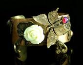 Steampunk Bracelet Cuff - Jewelry -  Fire Opal Butterfly Cuff