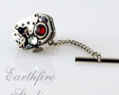 Steampunk Tie Tack and Chain - Vintage Jeweled Watch Tie Tack - Torch Soldered by Earthfire Studios