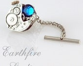 Steampunk Tie Tack and Chain - Vintage Jeweled Waltham Watch Tie Tack - Torch Soldered by Earthfire Studios