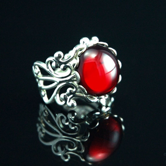 Steampunk Jewelry Ring - Ruby Jeweled Silver Ring